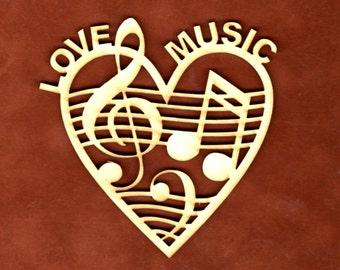 Love Music Ornament~ Wood