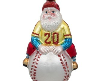 "5"" Santa Claus Baseball Player Sport Ball Glass Christmas Ornament- SKU # CC-63"