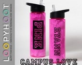 Personalized 24 oz Flip top Water Bottle--CAMPUS LOVE