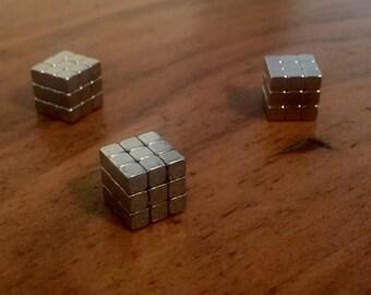 Magnets-A Rubik's cube Silver Metal Color, Chalkboard Magnet, Dry Erase Board Magnet, Fridge Magnet, Organization, Bulletin Board Magnet