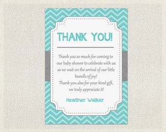 Baby Shower Thank You Card Boy Blue Turquoise Gray Chevron Thank You Note  Boys Neutral Thank