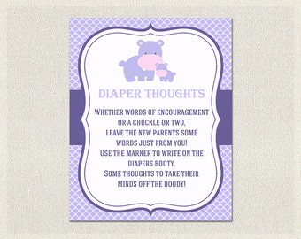Diaper Thoughts | Hippo Baby Shower Games Purple Lilac | Advice for Parents to be  Girl Baby Shower BS-152