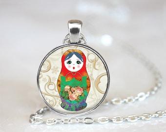 Babushka Glass Pendant, Photo Glass Necklace, Glass Keychain