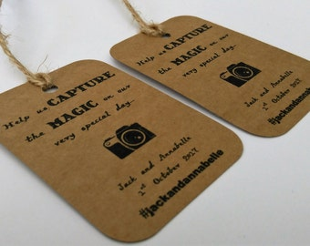 Wedding camera tags, Wedding photo tags, Capture the moment, Wedding Instagram tags, disposable camera tags, Instagram tags.