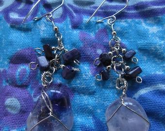 Natural stone earings