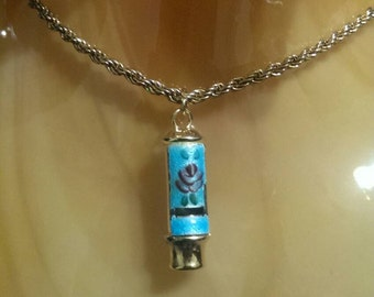 Vintage sterling silver chain with gold toned enamel whistle pendant