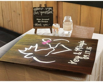 Wedding Guest Book Sign - Buck and Doe - Rustic Wedding Guest Book - Guest Book Alternative - Guest Book - Buck and Doe Sign - Wedding Gift