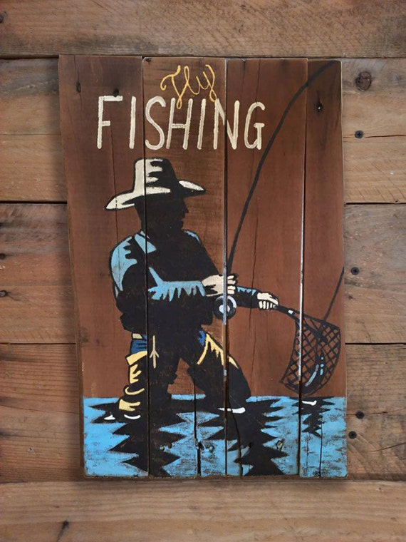 Fly fishing sign fishing sign rustic by lydiasgraphicspallet for Fishing decor for man cave