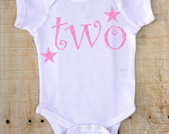 PERSONALIZED Two with Stars Name on Back Glitter Vinyl on White Bodysuit