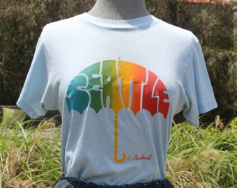 vintage short sleeve blue favorite seattle rainbow tshirt medium