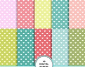 Baby girl hearts digital paper, baby digital scrapbook paper, heart pattern, hearts background, hearts printable paper,  pink and blue green