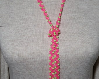 Handmade Pink Green beaded rope especially for this summer