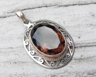 Smoky quartz and 925 Silver Pendant