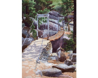 Yosemite - Note Card - Giclee - Wawona Swinging Bridge
