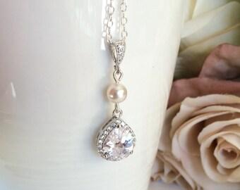Sterling silver swarovski teardrop y bridal necklace, sterling silver wedding jewelry, cubic zirconia bridal jewellery, bridesmaid necklace