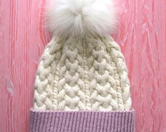 Wool hats,Knitted women hats,Women wool hats,Fur pom pom beanie,Cozy winter hat,winter fashion accessory, very warm