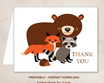 Printable Woodland Animals Fox Bear Raccoon Hedgehog Thank You Cards Children Kids Birthday Party Thank You Cards ~ DIY Instant Download