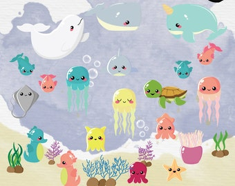 Baby Sea Creatures Clipart. Under the sea Clipart. Ocean Animals Clipart. PNG + Vector. Personal and Commercial Use. Instant download.