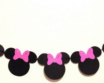 Minnie Mouse Garland -  Pink - Minnie Mouse Birthday - Minnie Mouse Party Decorations - Minnie Mouse Banner - Minnie Mouse