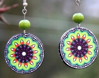 Polish folk earrings, green mandala earrings, bright green earrings, green accessories, green flower earrings, green kaleidoscope