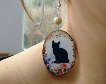 Cat Earrins, Cat decoupage oval earrings, Black cat earring, black cat silhouette, cat picture
