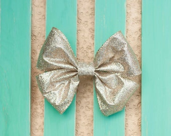 Shimmery Gold hair bow