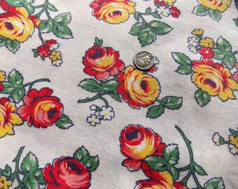 "Vintage American Cotton Feed Sack Bright Red and Yellow Roses on White 42"" x 37"""