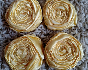 Powder Yellow Satin Rosettes 2""