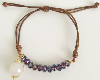 Iridescent Purple Crystal Band Bracelet with Stone Charm