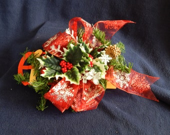 Christmas Sled Floral Arrangment for Tabletop or Hanging