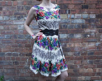 Vintage Repaired and Revitalised Floral Summer Dress Size 10