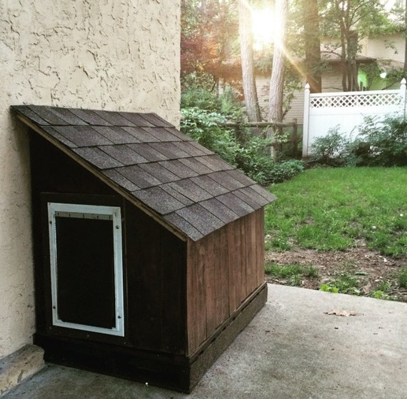 Items similar to hidden doggie door dog house on etsy for 2 door dog house