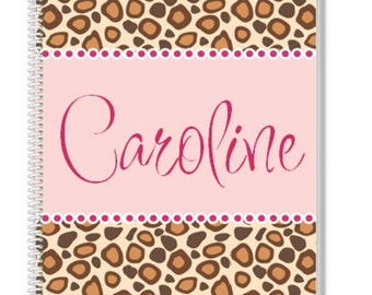Personalized Cheetah Notebook. A cool Kids Notebook, but also a great Adult Notebook. Our Custom Notebooks make a great Birthday Gift.