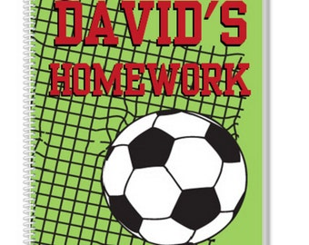 Personalized Soccer Notebook. A cool Kids Notebook, but also a great Adult Notebook. Our Custom Notebooks make a great Birthday Gift.