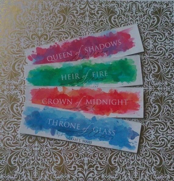 Throne of Glass series Thick Watercolour Bookmarks