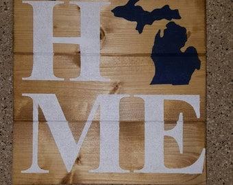 Michigan Home Wood Sign