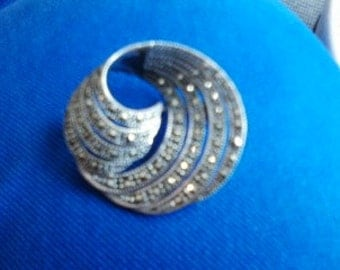 Sterling and marcasite spiral brooch