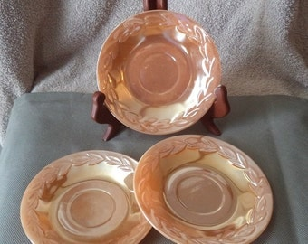 Fire king oven ware, Peach set of 3 saucers, set of 3 peach saucers . vintage saucers, 1950's tea cup saucers