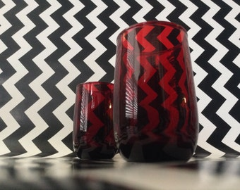 c.1940's~Ruby Red~Juice Glasses~Set of Two