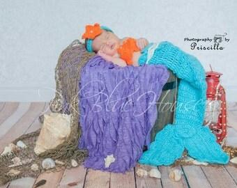 SALE! Newborn Baby Mermaid Set Crochet photo props