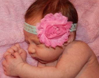 Pink Shabby Flower Headband