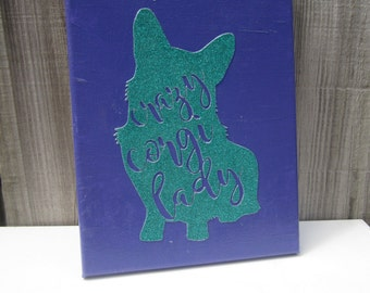 Crazy Corgi Lady Canvas - Purple and Turquoise - Pembroke or Cardigan Corgi