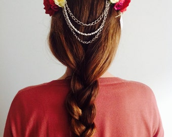 Headdress of flowers from fabric or Preservadas with chain or stones