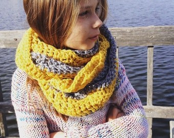 Mustard yellow and grey infinity scarf