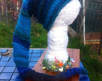 Extra long hand knitted pixie beanie