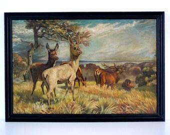Large - Original Antique Oil Painting - Landscape with Deer & Stag - Framed