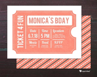 Ticket To The Movies Birthday Party Invitation - birthday party, invitation, movies, popcorn, ticket, cinema, admit one, celebration