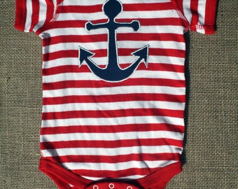 Anchor, Sailor, Yacht Bodysuit - Red, White, and Navy - Anchor - Newborn - 18 24 months - Sailor - LiaMelie - Handmade
