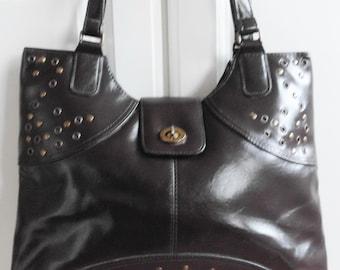 Leather Handbag, Brown color