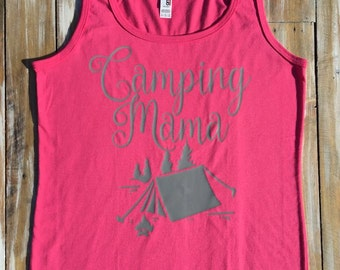 Camping Mama Mom Mommy Tanks and T-shirts